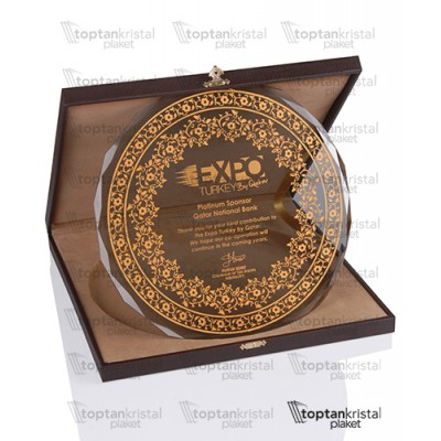 Deri Kutulu Altın Tabak Plaket PB-1501